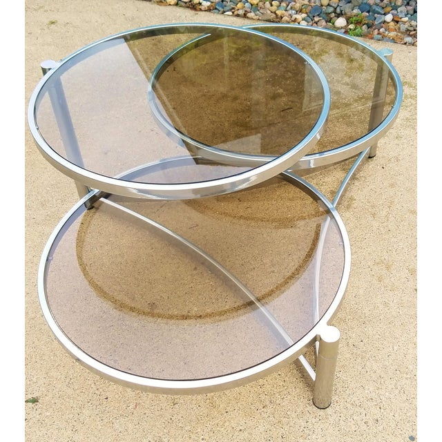 Glass Milo Baughman Tri Level Chrome and Glass Swivel Coffee Table For Sale - Image 7 of 11