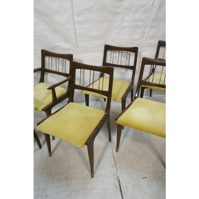 Mid-Century Modern Set of 6 Lane Mid-Century Modernist Walnut Dining Chairs W Metal Rods and Brass Sabots For Sale - Image 3 of 9