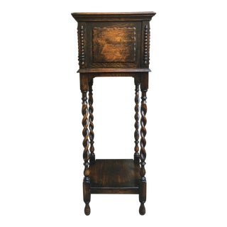 Antique English Oak Barley Twist Plant Stand 2 Shelf Display Jacobean Planter For Sale