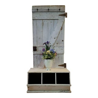 Country Style Custom Made Hall Tree Barn Door For Sale