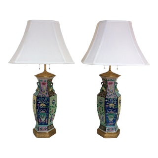 Chinese Porcelain Vase Lamps - A Pair For Sale