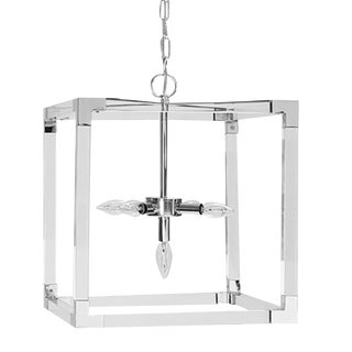 Worlds Away Modern Eli Square Acrylic and Polished Nickel Pendant For Sale