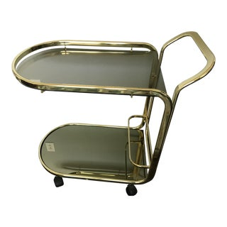 Vintage Brass Bar Cart With Gold Colored Glass For Sale