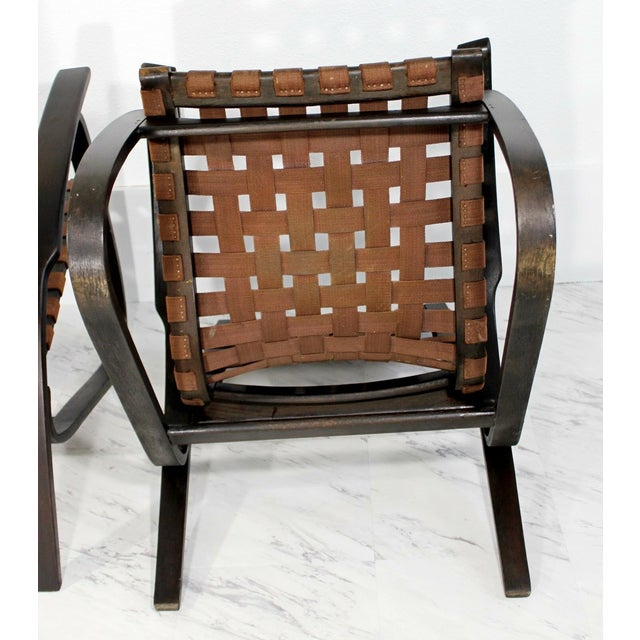 Bentwood Mid-Century Modern Jan Vanek Bentwood Easy Arm Chairs with Woven Straps - a Pair For Sale - Image 7 of 8