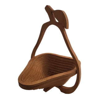 Boho Chic Bamboo Pear Shaped Trivet & Fruit Basket For Sale