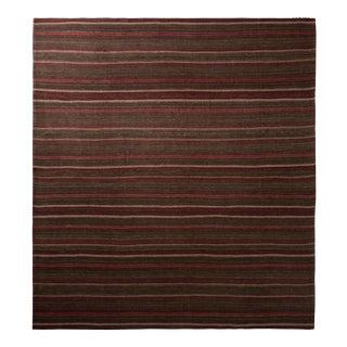 Vintage Mid-Century Striped Brown and Red Kordi Persian Jajim Kilim For Sale