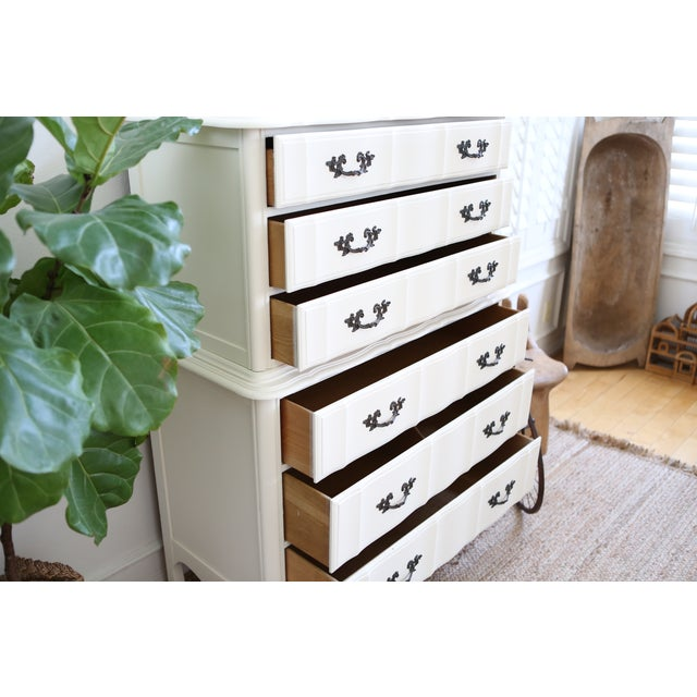 Shabby Chic French Provincial Highboy Dresser - Image 5 of 6