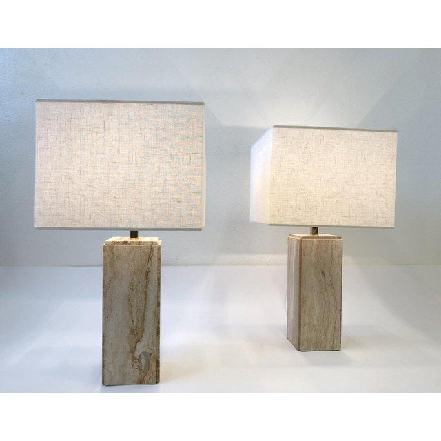 Italian Travertine and Brass Table Lamps - a Pair For Sale - Image 9 of 10