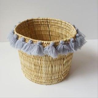 Moroccan Grey Tassel Large Basket Preview