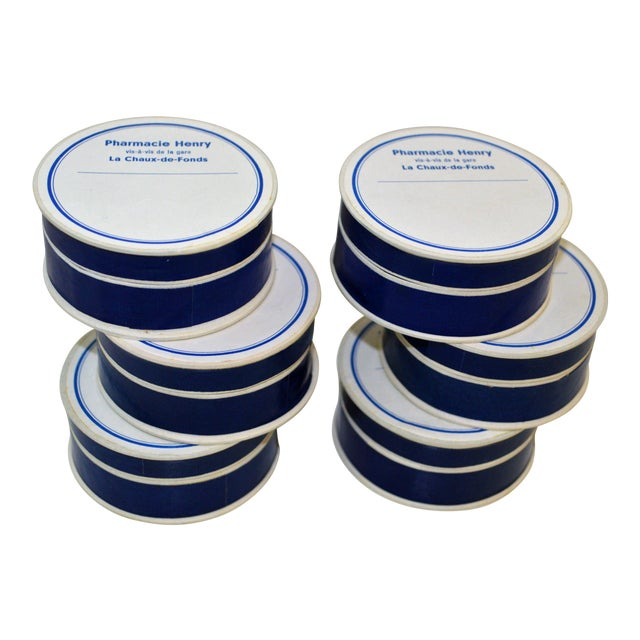 6 PillBox Paper Antique Drugstore Apothecary Pharmacie Blue White French Lot For Sale