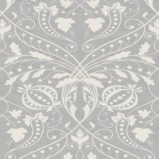 "Lewis & Wood Chateau Silver Extra Wide 52"" Damask Wallpaper Sample For Sale"