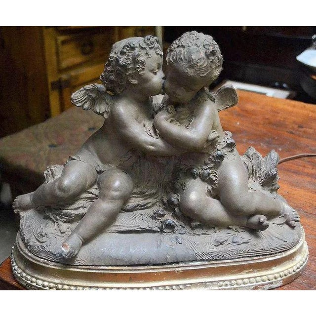 French French 19th Century Signed Terracotta Kissing Putti/Cherub Statue Lamp For Sale - Image 3 of 10