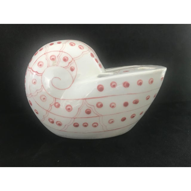 English Pink and White Nautilus Ceramic Flower Frog Vase For Sale - Image 3 of 11