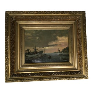19th Century Dutch Windmill Painting
