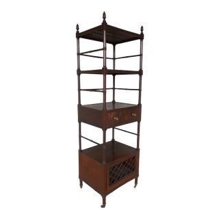Antique 19th Century English Burl Mahogany Acorn Carved Top Etagere Display For Sale