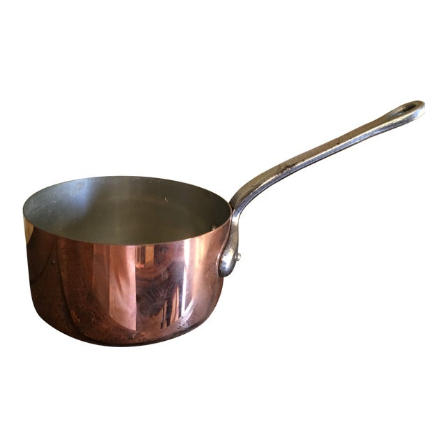 1880s Antique English Copper Saucepan For Sale