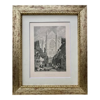 Antique Engraving Beauvais Cathedral France 19th Century Print For Sale