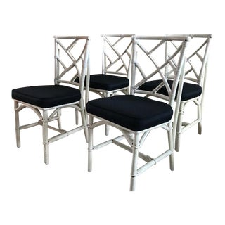 Set of 4 Chinese Chippendale Faux Bamboo Chairs