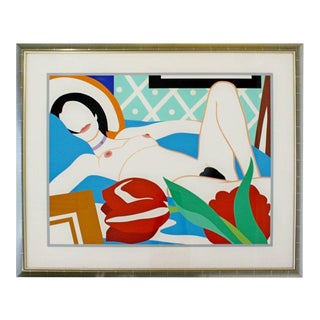 Contemporary Modern Framed Signed Lithograph Monica Nude Tulips Wesselmann 1980s For Sale