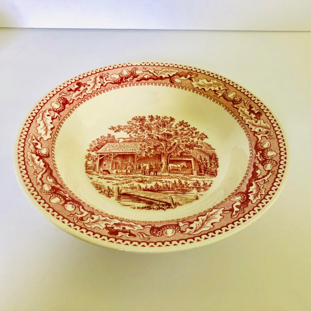 1960's Royal Ironstone Red Transfer Ware Soup Bowls S/5 For Sale In New York - Image 6 of 8