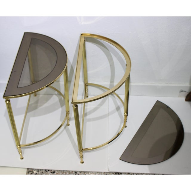 Mid-Century Modern Demi-Lune Drinks or Side Tables Brass and Smoked Glass - a Pair For Sale - Image 10 of 13