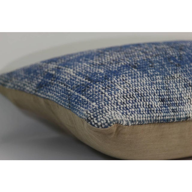 Boho Chic Vintage Blue Overdyed Rug Pillowcase - Turkish Hand Knotted Pillow For Sale - Image 3 of 4