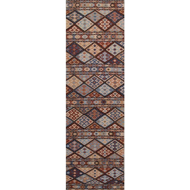 Hand Knotted Geometric Runner Rug - 2' X 8' For Sale - Image 4 of 4