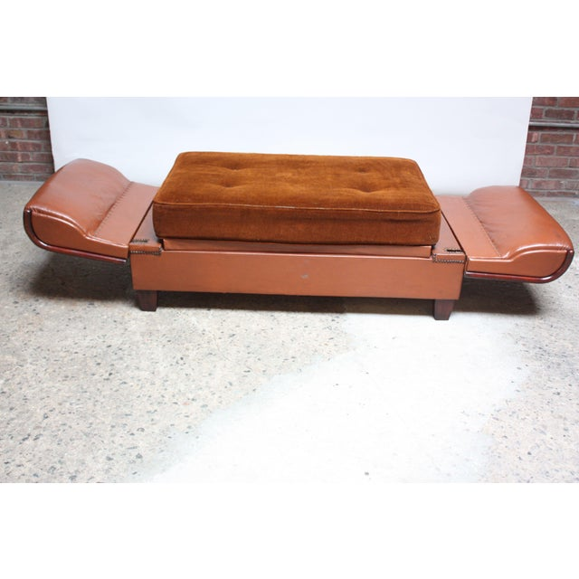 French Deco Leather and Mohair Daybed - Image 6 of 11