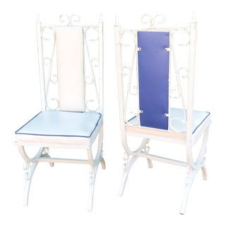 Santorini Style Iron MCM Patio Chairs - a Pair For Sale