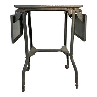 Vintage Industrial Green Typewriter Table with Double Drop Leaf