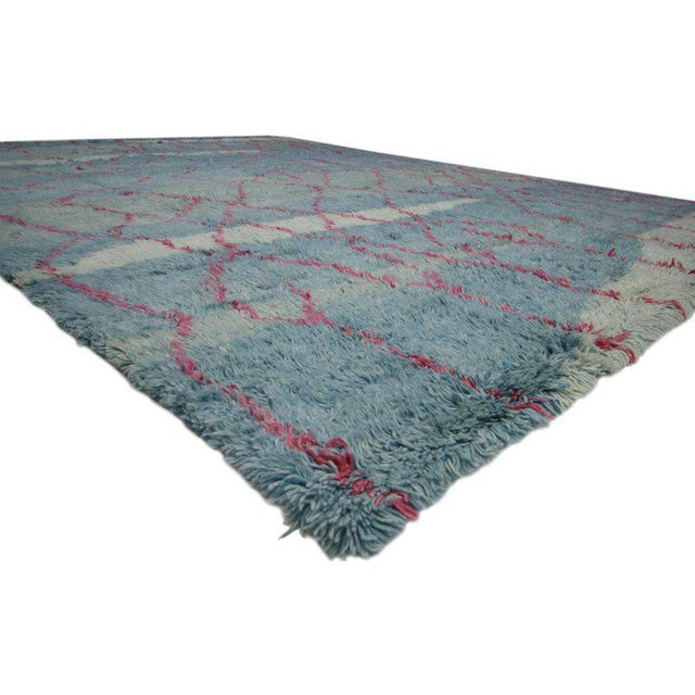 Contemporary Indian Blue and Pink Area Rug - 10′8″ × 13′4″ For Sale - Image 3 of 5