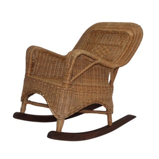 Victorian Child Size Wicker Rocking Chair, American 19th Century For Sale