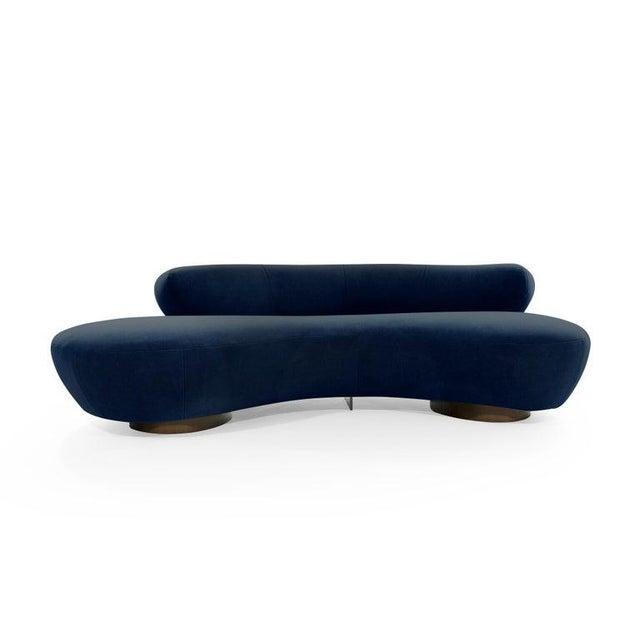 Serpentine sofa designed by the late Vladimir Kagan for Directional, circa 1970s. This rare example features fully...