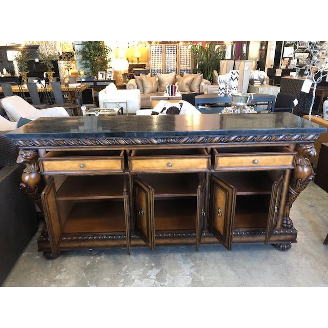 Traditional Traditional Black Faux Marble Top Buffet with Lion Motif Corner Pillars For Sale - Image 3 of 10