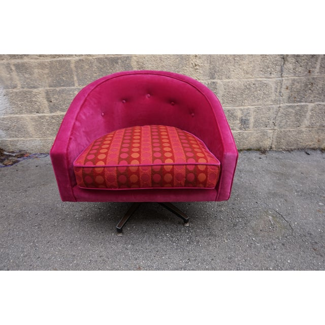 Ward Bennett Style Magenta Swivel Chairs - A Pair - Image 8 of 9