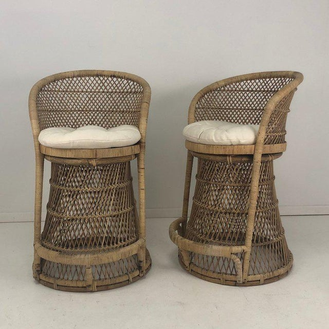 Boho Chic Woven Rattan Wicker Barstools - a Pair For Sale - Image 3 of 8