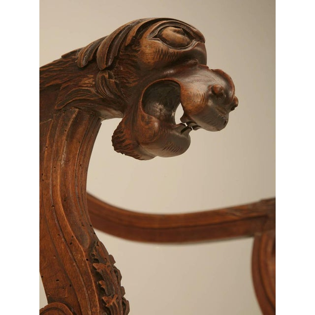 Circa 1880 French Walnut Os De Mouton Throne Chair For Sale - Image 10 of 11