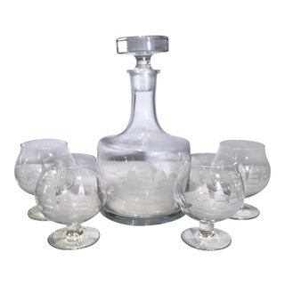 Sailboat Motif Brandy/Cocktail Decanter and Glasses - 5 Pieces For Sale