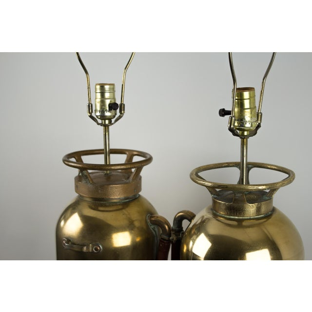 Brass Fire Extinguisher Lamps - a Pair For Sale - Image 12 of 13
