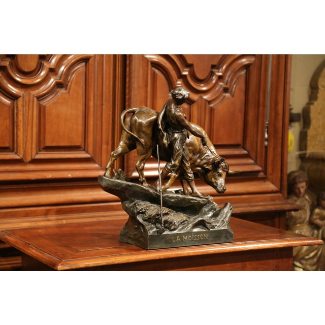 Brown 19th Century French Patinated Spelter Sculpture with Bull Signed E. Picault For Sale - Image 8 of 11