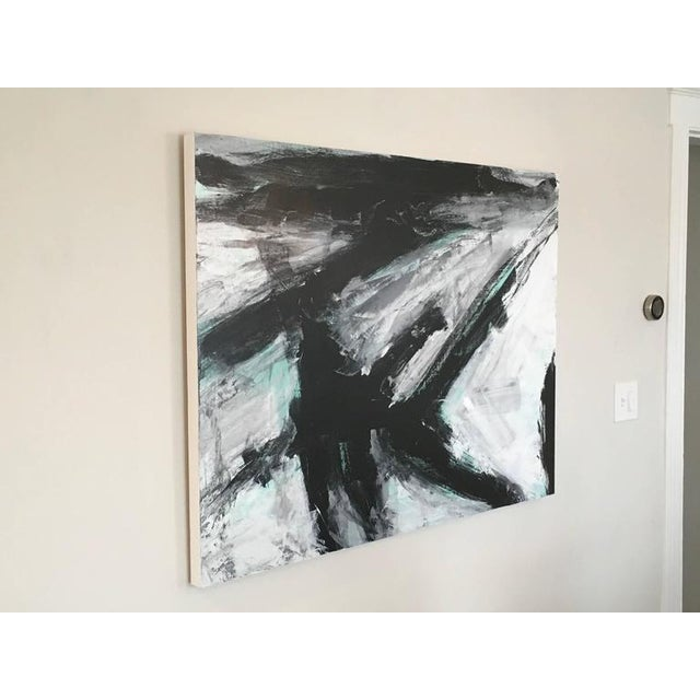Abstract Stephanie Cate Europa 23 Abstract Black, White, Green Acrylic Painting on Wood Panel For Sale - Image 3 of 4