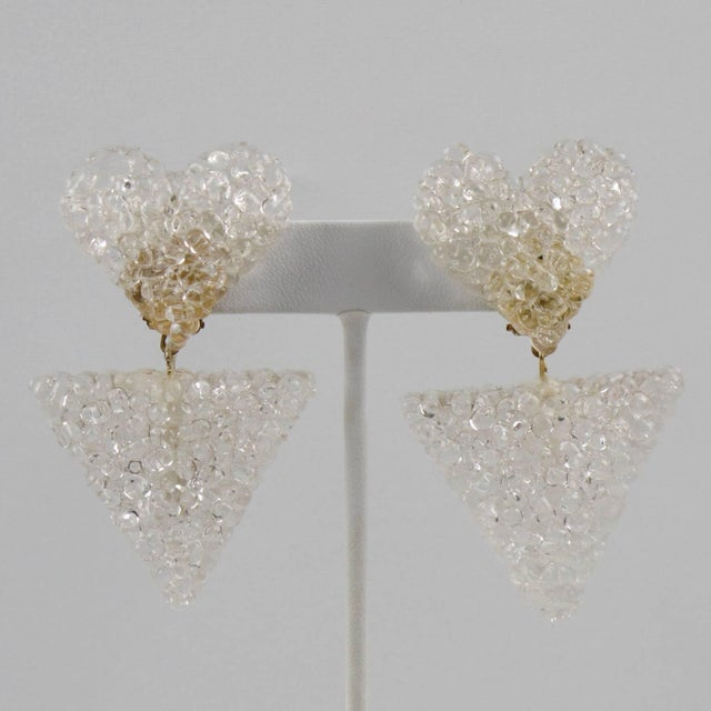 French Romantic Dangling Clear Lucite Clip on Earrings With Heart For Sale - Image 3 of 9