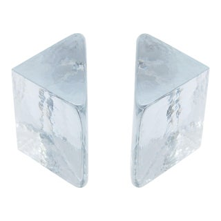 Minimalist Triangular Sculptural Blenko Solid Clear Glass Bookends - a Pair For Sale
