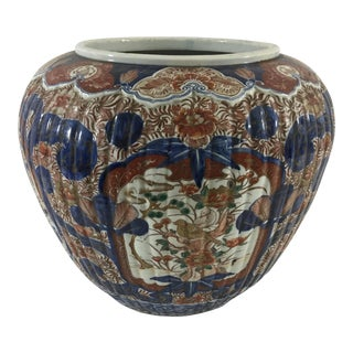 Large 19th Century Imari Cachepot or Brush Pot For Sale