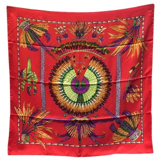Hermes Vintage Brazil Silk Scarf in Red For Sale