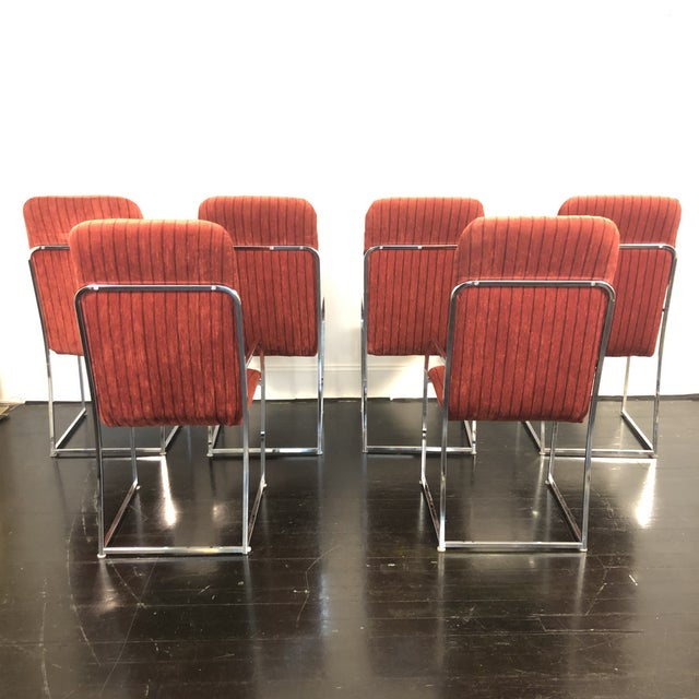 1970s Modern Chrome High Back Dining Chairs by Milo Baughman for Design Institute of America (DIA). Set of 6 in original...
