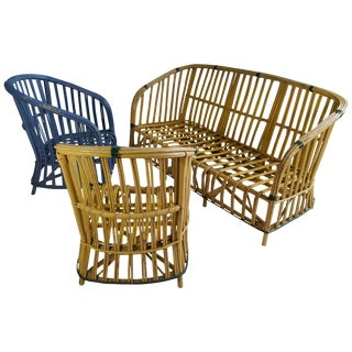 Art Deco Stick Wicker/Split Reed Sofa and Chair - Set of 3 For Sale