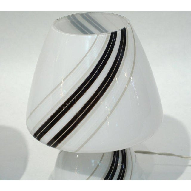 Vistosi Murano 1970s Italian White Lamps With Black Gray Murrine Attributed to Vistosi - a Pair For Sale - Image 4 of 8