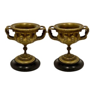 Pair of 19th-C. French Grand Tour Cast Bronze and Marble Warwick Urns For Sale