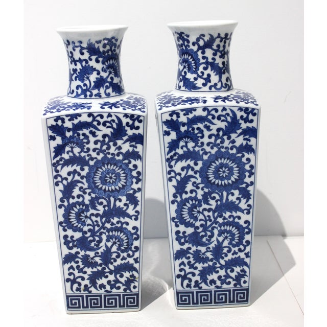 Vintage Blue & White Silk Road Style Vases - a Pair For Sale - Image 4 of 9